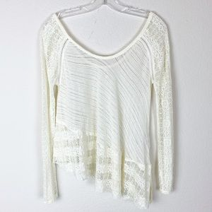 Free People lace asymmetric long sleeve top a29